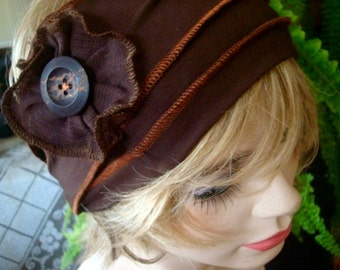 Womens brown HeadWrap Headwrap Flapper Chemo Headwear head cover Alopecia with flowers