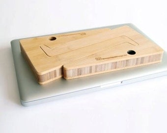 WOOD LAPTOP STAND laptop riser present for college students: unique puzzle shaped laptopstand in bamboo wood