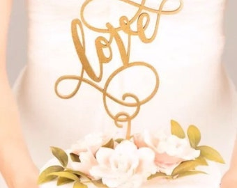 Personalised gold Wedding Cake Topper