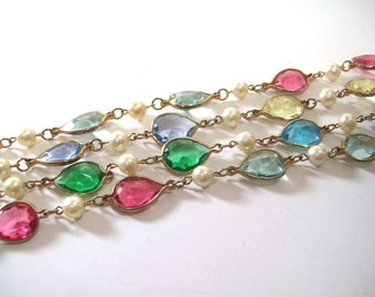 Vintage Glass & Faux Pearls Multi Color Pastels  Teardrops Necklace Strand , Mid Century Jewelry