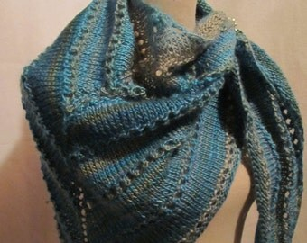 Soft Triangular Scarf Shawl with A Scarf Holder.....Teal and Green