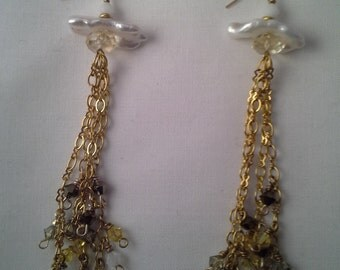 Ombre Chandelier Chain and Crystal Earrings, White, Bronze, Gold-Fill, Gift, Anniversary