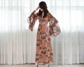 Vintage 1970s Dress - 70s Butterfly Sleeve Dress - Justify Maxi Dress