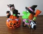 Halloween Novelty Toys Figures - Witch, Cat, Pumpkin