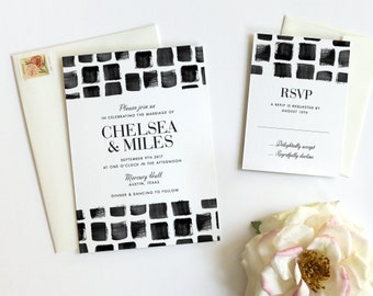 Watercolor Wedding Invitation, Modern Wedding Invitation, Watercolor Invitations, Wedding Invitation Suite, Black and White, Mosaic