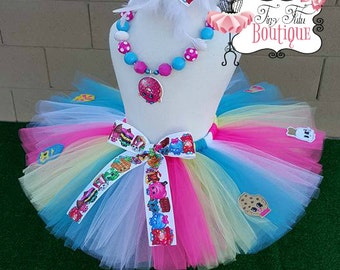 SHOPKINS inspired- Pink, White, Yellow and Blue tutu with hairbow:  Newborn-5T