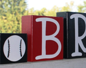 PERSONALIZED LETTER BLOCKS - Sports Football Soccerball - Boy Room Decor - Nursery - Custom Name - Baby Shower - All Star