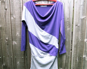 Upcycled Dress Upcycled Clothing Reconstructed Handmade Knit Eco Friendly Stripes Purple Grey Stripes Slouchy Neckline M L Recycled Dress