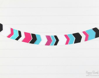 Monster Teen Glittered Chevron Garland : Handcrafted Tribal Arrow Garland | Birthday Party Decoration | Birthday Banner | Teen Room Decor
