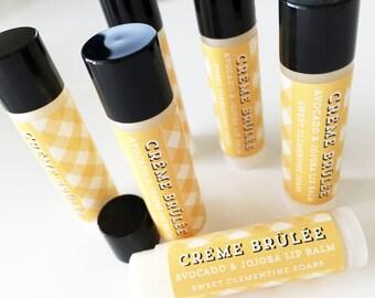 Creme Brulee Lip Balm, Moisturizing Avocado and Jojoba Oil Lip Balm, Caramelized Sugar and Vanilla Lip Balm