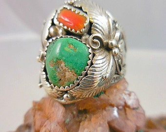 Native American Turquoise  Coral Sterling Silver Man's Ring