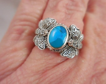 Butterfly Turquoise Sterling Silver Ring