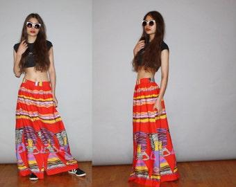 Rare Vintage Rainbow 1960s Graphic Novelty African Women Tribal Hippie  Boho Festival Maxi Skirt  - Vintage Maxi Skirts - WB0407