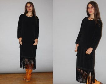1980s Designer Vintage Bill Blass Suede Fringe Minimalist Sac Dress -  Bill Blass  -  80s Designer Black Dress  - WD0833
