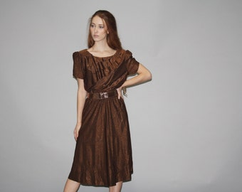 1970s Metallic Copper Ruffle Dress -  1970s Metallic Dress - 70s Ruffle Dress  - WD0688