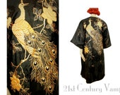 1920s Peacock Flapper Coat or Robe. Stunning Gold and Silver Couched and Padded Satin Stitch Embroidery. Antique Japanese Export Kimono.