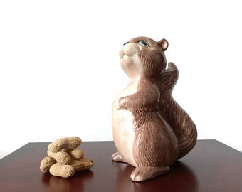 Vintage ceramic squirrel, hand painted clay squirrel