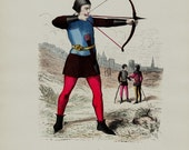 1881 Antique ARCHER print. Paris Costumes for the archer in the 13th century. Original antique