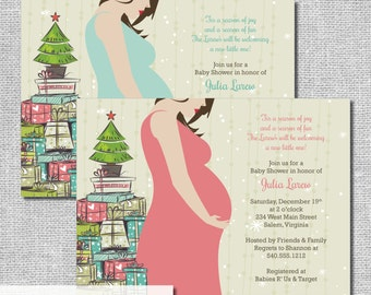 Holiday Baby Shower Invitation - Christmas Baby - Personalized Printable File or Print Package Available #00105BABY-PIA7