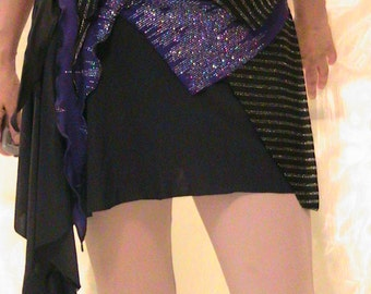 Asymetric Belly dance Hip scarf, apron , hip belt , hip skirt  in black lycra with purple accents
