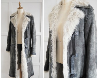 Vintage DKNY shearling mid length coat