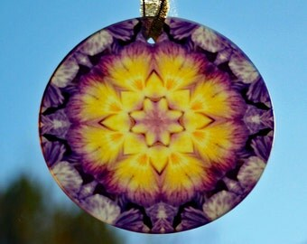 Glass Suncatcher Purple Pansy Mandala Sacred Geometry Kaleidoscope Unique Gift Boho Chic Bohemian New Age Mod Hippie Endearing Memories