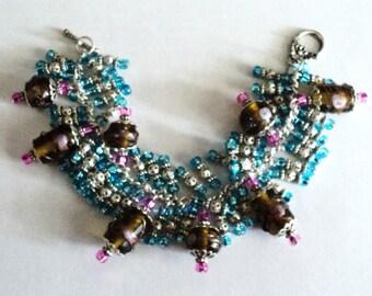 Beaded Bracelet, Chunky Bracelet, Floral Bracelet, Shabby Chic Jewelry, Cottage Chic, Shabby Chic Bracelet - FLORAL BEACH WALK