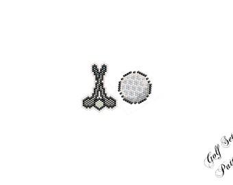 Golf Ball Golf Clubs Beading PATTERN Set, Charm - Earrings - Pendant Bead Weaving