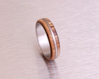 Mens Wood Ring WIth Titanium Ring Mens Wedding Band  Ring cherry ring zebra wood