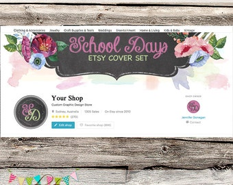 Etsy Shop Set - Premade Etsy Cover - Etsy Shop Banner - Etsy Cover - Etsy Shop Icon - Avatar - School Days