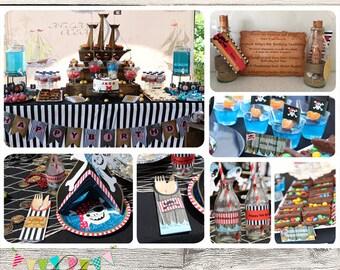 Pirate Treasure Party Set - DIY - Digital File - Printable - Customised - INSTANT DOWNLOAD
