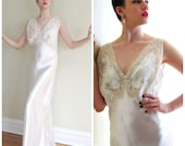 Vintage 1930s 30s Bias Cut Nightgown by Thea Tewi / 1940s 40s White Silk and Lace Negligee / Medium