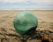 "Japanese Glass Fishing Float - 4"" diameter, Blue Green, Light Amber Swirls, Bubbles"