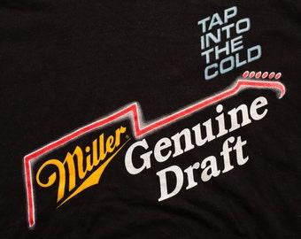 Miller Genuine Draft Beer T-Shirt, Guitar Logo, Breweriana, Vintage 90s