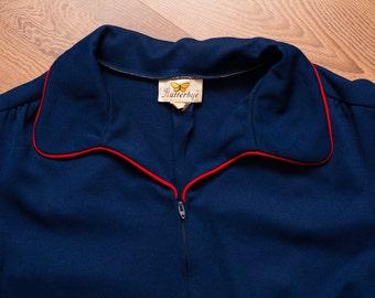 Flutterbye Jumpsuit, Disco Mod, Navy Blue, ILGWU Union Vintage 70s-80s