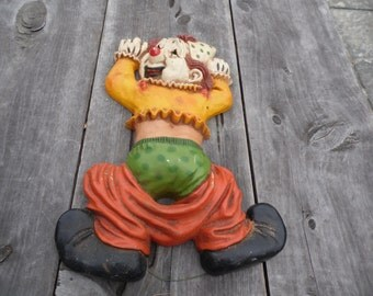 """Clown Homco vintage plastic wall art with hanger on back clown with his pants down 11 x 8.5"""" for child's room, nursery"""