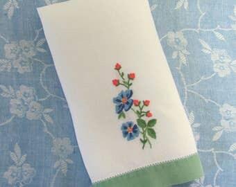 Vintage Hand Embroidered Blue Pink Floral Kitchen Tea Dish Guest Towel