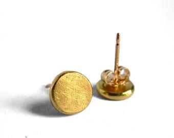 River Stone Studs - 18K Gold Ear Studs - Tiny Gold Earrings - 18K gold studs - gold stud earrings - tiny gold studs - Artisan Handmade
