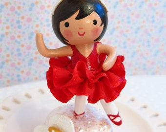 Girl's Ballet Cake Topper,Red Tutu, Black Hair, Clay Decorations,Ballet Party, Ballerina Party, Baby's 1st First Second Birthday,Little Girl
