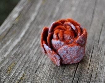 READY TO SHIP, Minimal flower, Felt Flowers, Mini flower, Rust Felt Flower, Sky Blue flower, Floral jewelry, Silk flower, Fiber jewelry