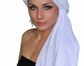 Turban, Head Wrap, Chemo Hat, White Head Wrap, White Turban, Cotton Gauze Turban, Alopecia Scarf, Boho, Gypsy, One Piece Wrap 331-65