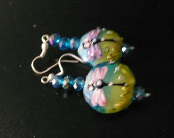 pink, blue and green dragonfly pierced earrings