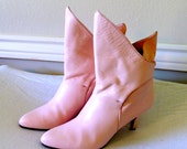 vintage pink boots - 1970s Poppies pink leather boots size 8.5