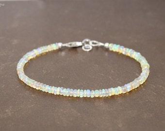 Eithopian Opal Bracelet, Eithopian Opal Jewelry, Welo Opal, Gemstone Bracelet, October Birthstone