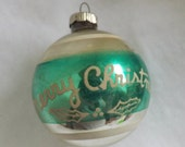 Vintage Shiny Brite Merry Christmas ornament silver and teal green ornament stripe stencil ornament holly leaves