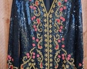 70's Silk beaded and sequins top