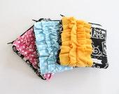square ruffle zipper pouch --  Jesus Chalkboard [choose your ruffle!]