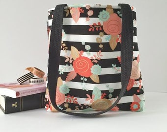 striped floral bible bag