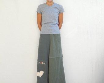 Palazzo Pants Wide Leg Pants Women's Long Pants T-Shirt Pants Recycled Tee Pants Green Cream Handmade Pants Cotton Pants Eco Chic ohzie
