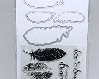 KaiserCraft Dies & Stamp Set -- Feathers -- Planner Journal Scrapbook Cards
